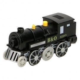Czarna lokomotywa parowa na baterię