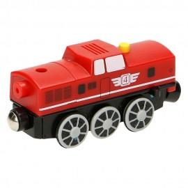 Czerwona lokomotywa Diesla na baterię