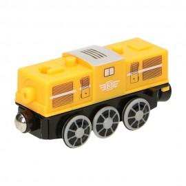 Żółta lokomotywa Diesla na baterię