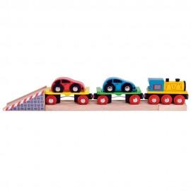 Pociąg laweta z 2 autami